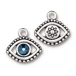 TierraCast Evil Eye Charm with Swarovski Metallic Blue SS20 Crystal, Antique Silver